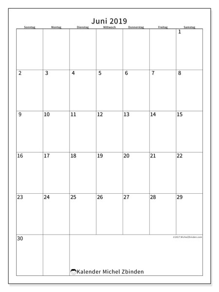 Kalender Juni 2019, 52SS. Kostenlos ausdruckbare Planer.