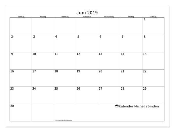 Kalender Juni 2019, 53SS. Kostenloser Zeitplan zum ausdrucken.
