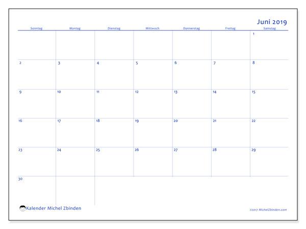 Kalender Juni 2019, 55SS. Zeitplan zum kostenlosen ausdrucken.