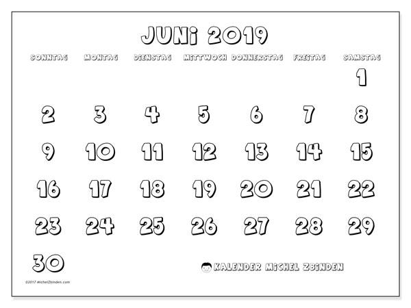 Kalender Juni 2019, 56SS. Monatlicher Kalender zum kostenlosen ausdrucken.