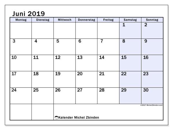 Kalender Juni 2019, 57MS. Planer zum kostenlosen ausdrucken.