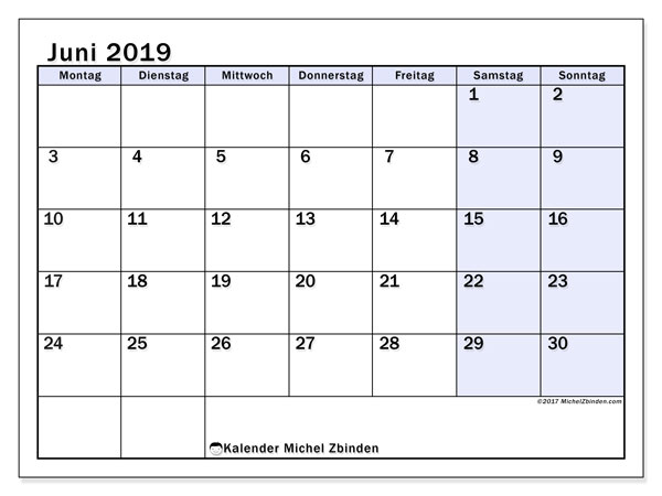 Kalender Juni 2019, 57MS. Kostenlos ausdruckbare Zeitplan.