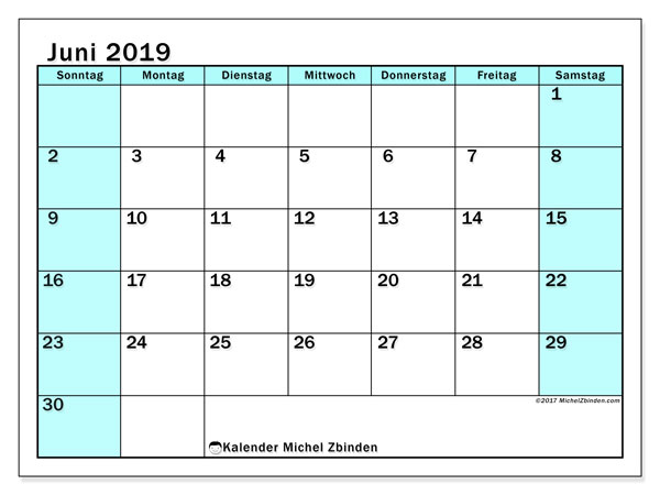 Kalender Juni 2019, 59SS. Monatlicher Kalender zum kostenlosen ausdrucken.
