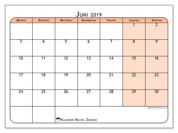 Kalender Juni 2019, 61MS. Monatlicher Kalender zum kostenlosen ausdrucken.