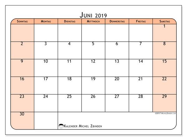 Kalender Juni 2019, 61SS. Kalender zum kostenlosen ausdrucken.
