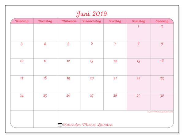 Kalender Juni 2019, 63MS. Zeitplan zum kostenlosen ausdrucken.