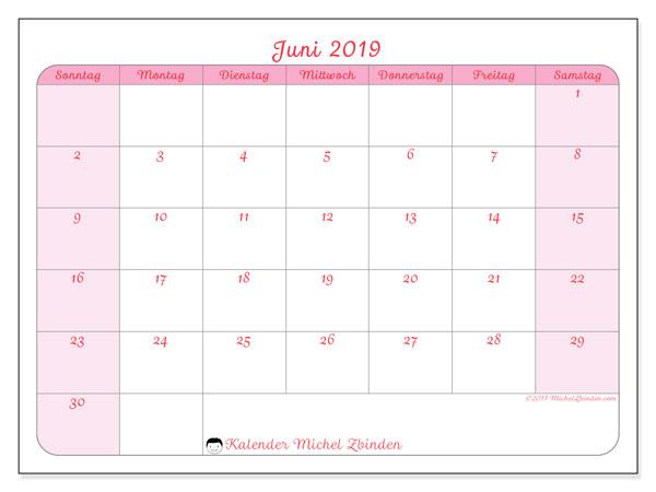 Kalender Juni 2019, 63SS. Kostenlos ausdruckbare Zeitplan.