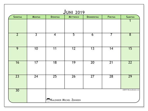 Kalender Juni 2019, 65SS. Kalender zum kostenlosen ausdrucken.