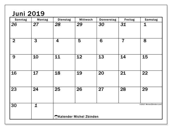 Kalender Juni 2019, 66SS. Monatlicher Kalender zum kostenlosen ausdrucken.