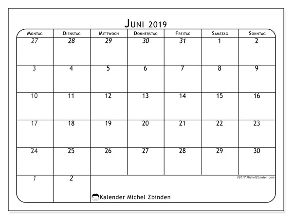 Kalender Juni 2019, 67MS. Kostenloser Planer zum ausdrucken.