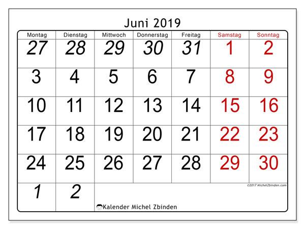 Kalender Juni 2019, 72MS. Monatlicher Zeitplan zum kostenlosen ausdrucken.