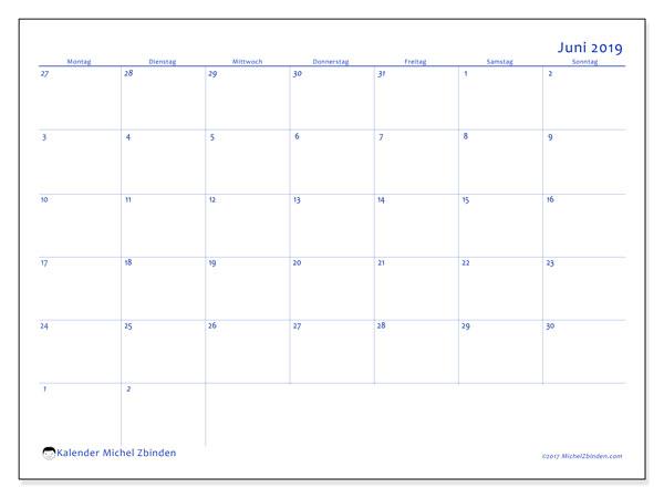 Kalender Juni 2019, 73MS. Kalender zum kostenlosen ausdrucken.