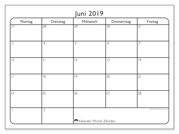 Kalender Juni 2019, 74MF. Monatlicher Kalender zum kostenlosen ausdrucken.