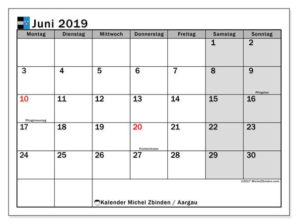 Kalender für Juni 2019, mit Feiertagen des Kantons Aargau. Kostenloser Planer zum ausdrucken.
