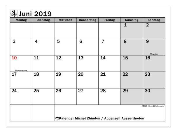 Kalender Juni 2019, mit den Feiertagen des Kantons Appenzell Ausserrhoden. Kalender Feiertage frei zum ausdrucken.