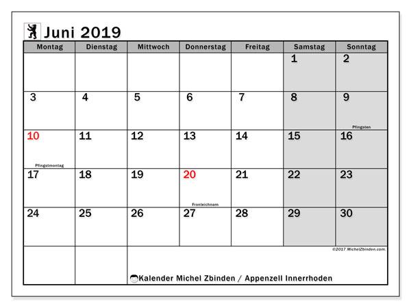 Kalender für Juni 2019, , mit Feiertagen des Kantons Apenzell Innerrhoden. Kostenloser Kalender zum ausdrucken.