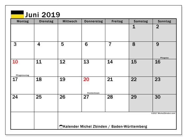 Kalender für Juni 2019, , mit Feiertagen Baden-Württemberg. Kalender zum kostenlosen ausdrucken.