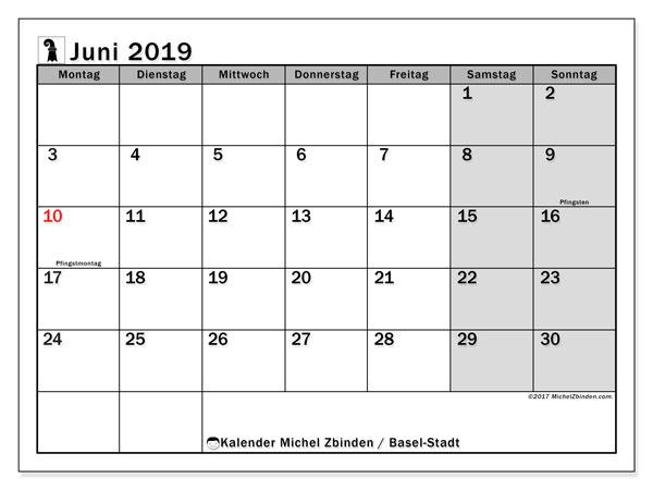 Kalender Juni 2019, mit den Feiertagen des Kantons Basel Stadt. Kalender Feiertage frei zum ausdrucken.