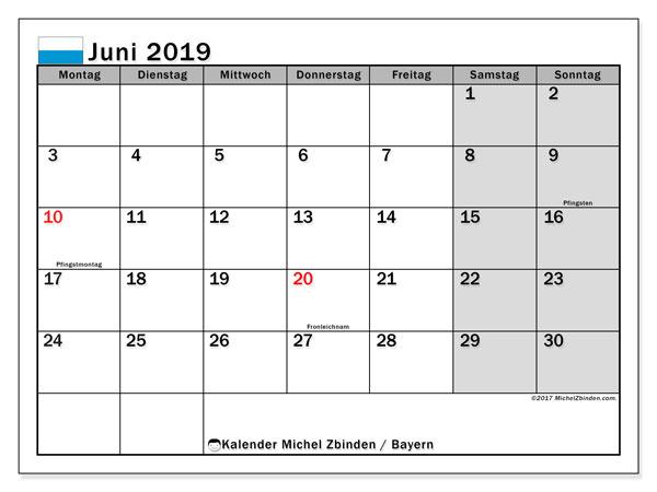 Kalender für Juni 2019, mit Feiertagen Bayern. Kalender für den Monat zum kostenlosen Ausdrucken.