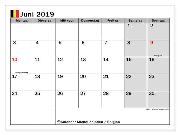 Kalender für Juni 2019, mit Feiertagen in Belgien. Monatlicher Zeitplan zum kostenlosen ausdrucken.