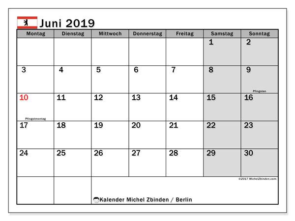 Kalender für Juni 2019, , mit Feiertagen Berlin. Monatlicher Kalender zum kostenlosen ausdrucken.