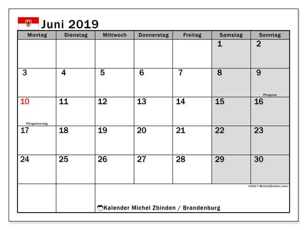 Kalender für Juni 2019, mit Feiertagen Brandenburg. Zeitplan zum kostenlosen ausdrucken.