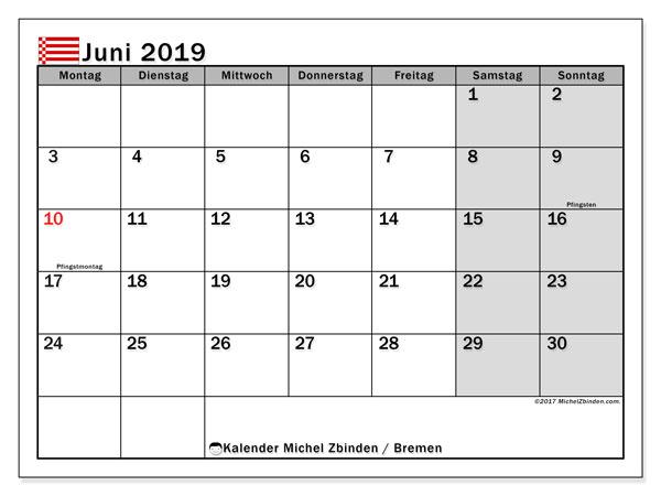 Kalender für Juni 2019, mit Feiertagen Bremen. Kostenloser Zeitplan zum ausdrucken.