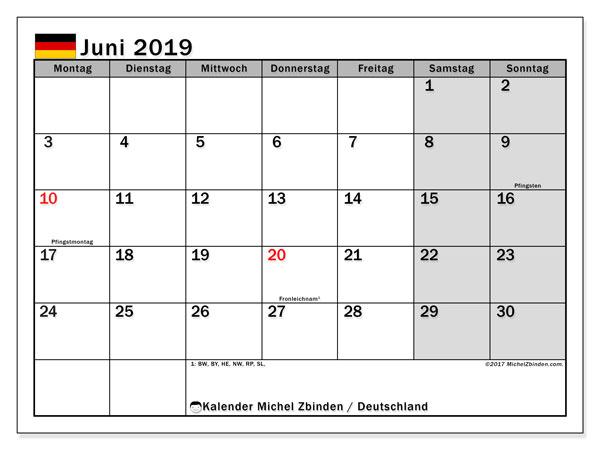 Kalender für Juni 2019, , mit Feiertagen Deutschland. Monatlicher Zeitplan zum kostenlosen ausdrucken.