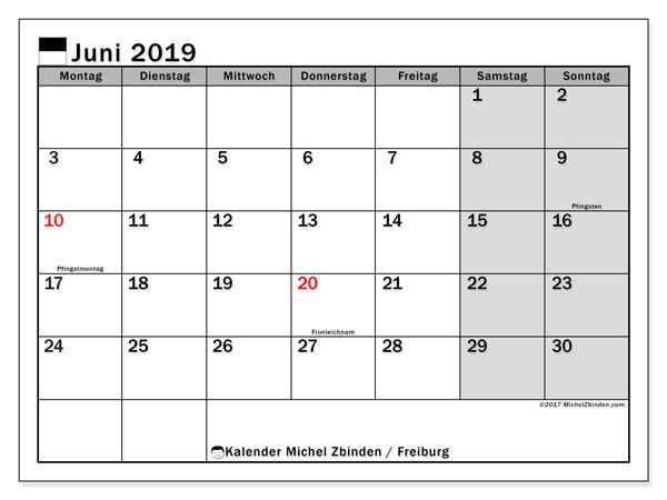 Kalender für Juni 2019, mit Feiertagen des Kantons Freiburg. Kostenlos ausdruckbare Planer.