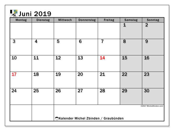 Kalender für Juni 2019, mit Feiertagen des Kantons Graubünden. Kostenloser Planer zum ausdrucken.