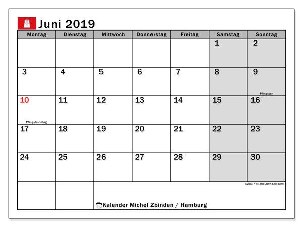 Kalender Juni 2019, mit den Feiertagen in Hamburg. Kalender mit Feiertagen zum kostenlosen ausdrucken.