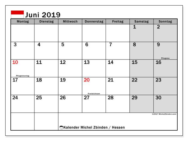 Kalender Juni 2019, mit den Feiertagen in Hessen. Kalender Feiertage frei zum ausdrucken.