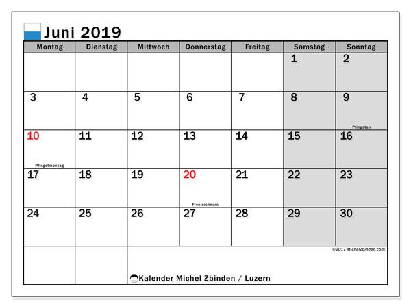 Kalender Juni 2019, mit den Feiertagen des Kantons Luzern. Kalender Feiertage frei zum ausdrucken.