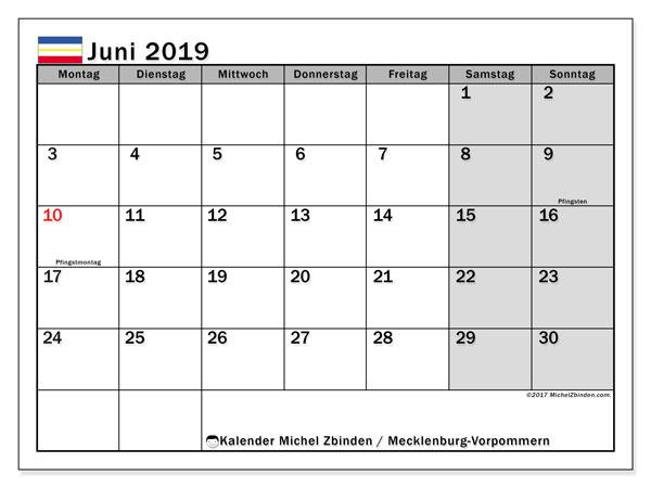 Kalender Juni 2019, mit den Feiertagen in Mecklenburg-Vorpommern. Kalender Feiertage frei zum ausdrucken.
