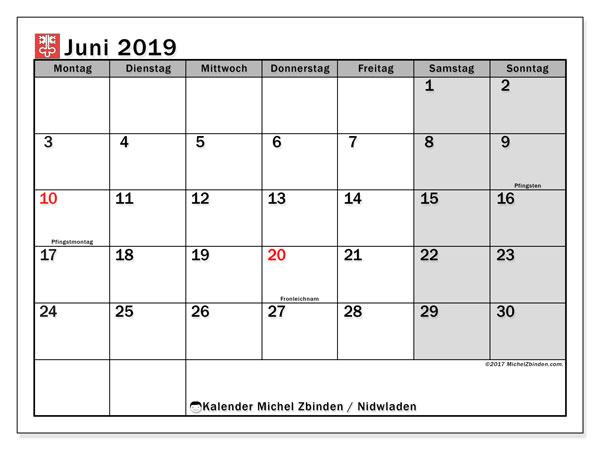 Kalender Juni 2019, mit den Feiertagen des Kantons Nidwalden. Kalender Feiertage frei zum ausdrucken.
