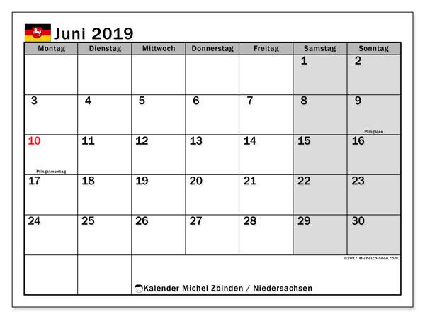 Kalender Juni 2019, mit den Feiertagen in Niedersachsen. Kalender mit Feiertagen zum kostenlosen ausdrucken.