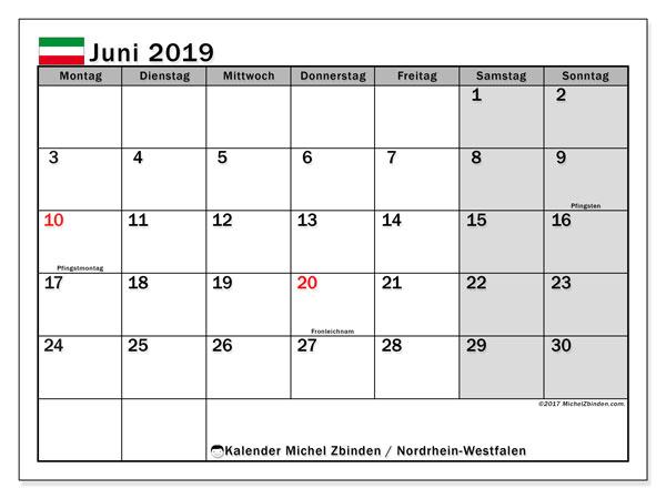 Kalender für Juni 2019, , mit Feiertagen Nordrhein-Westfalen. Zeitplan zum kostenlosen ausdrucken.