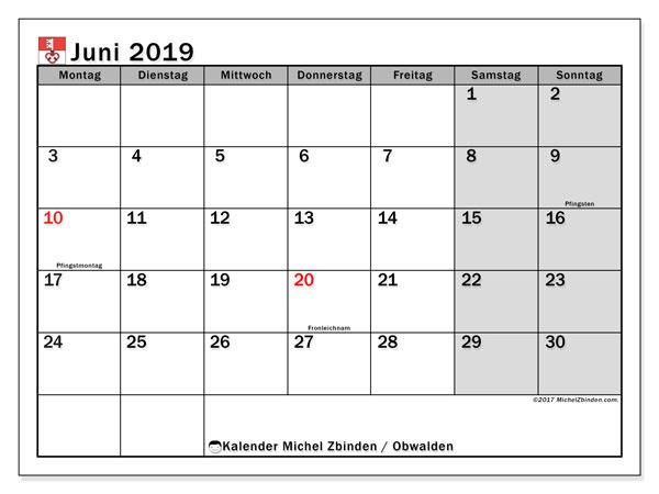 Kalender für Juni 2019, , mit Feiertagen des Kantons Obwalden. Kostenloser Planer zum ausdrucken.