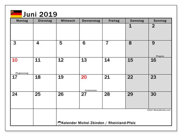 Kalender für Juni 2019, mit Feiertagen Rheinland-Pfalz. Monatlicher Kalender zum kostenlosen ausdrucken.