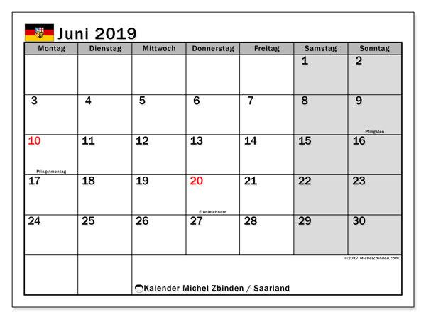 Kalender Juni 2019, mit den Feiertagen des Saarlandes. Kalender mit Feiertagen zum kostenlosen ausdrucken.