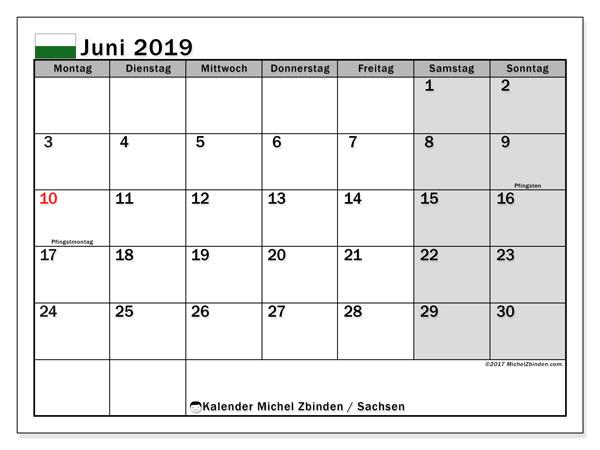 Kalender Juni 2019, mit den Feiertagen in Sachsen. Kalender mit Feiertagen zum kostenlosen ausdrucken.