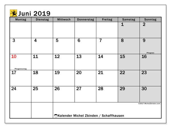 Kalender Juni 2019, mit den Feiertagen des Kantons Schaffhausen. Kalender mit Feiertagen zum kostenlosen ausdrucken.