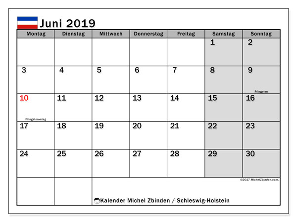 Kalender Juni 2019, mit den Feiertagen in Schleswig-Holstein. Kalender mit Feiertagen zum kostenlosen ausdrucken.