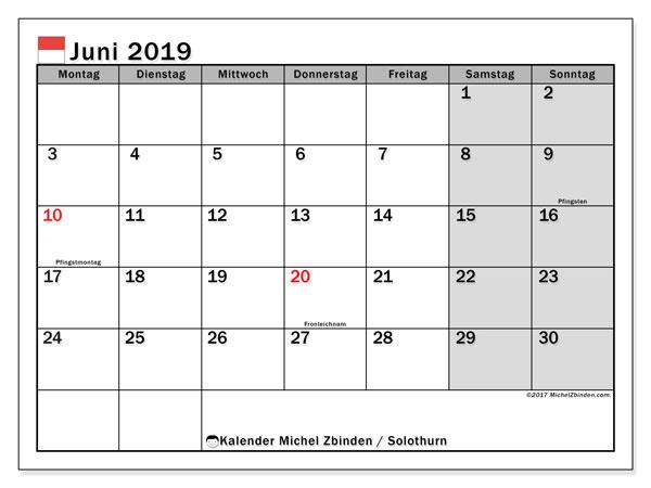 Kalender Juni 2019, mit den Feiertagen des Kantons Solothurn. Kalender Feiertage frei zum ausdrucken.