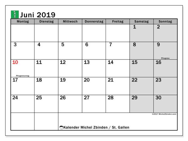 Kalender für Juni 2019, , mit Feiertagen des Kantons St. Gallen. Kalender für den Monat zum kostenlosen Ausdrucken.