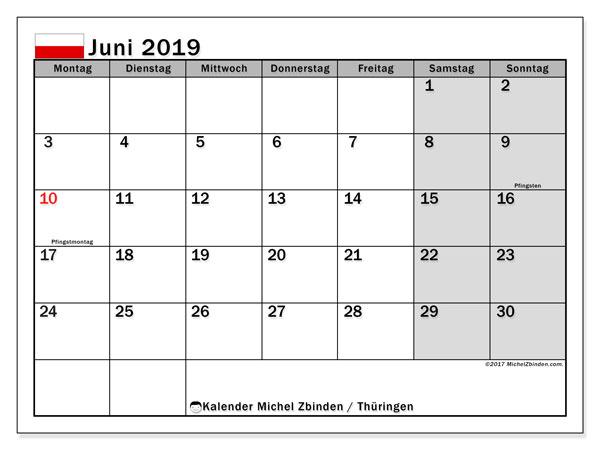 Kalender Juni 2019, mit den Feiertagen in Thüringen. Kalender mit Feiertagen zum kostenlosen ausdrucken.