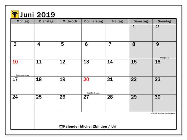 Kalender für Juni 2019, mit Feiertagen des Kantons Uri. Monatlicher Kalender zum kostenlosen ausdrucken.