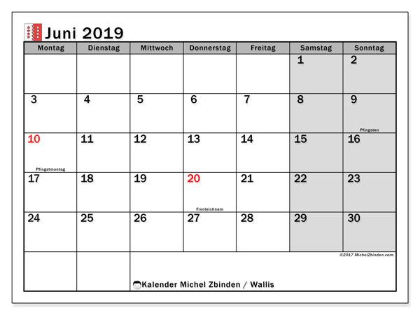 Kalender für Juni 2019, mit Feiertagen des Kantons Wallis. Monatskalender zum kostenlosen ausdrucken.