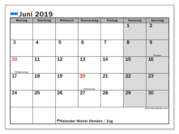 Kalender für Juni 2019, mit Feiertagen des Kantons Zug. Kalender zum kostenlosen ausdrucken.
