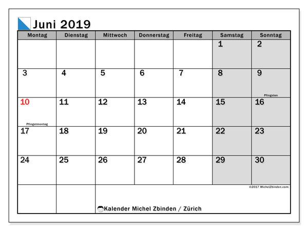 Kalender für Juni 2019, , mit Feiertagen des Kantons Zürich. Kostenloser Kalender zum ausdrucken.